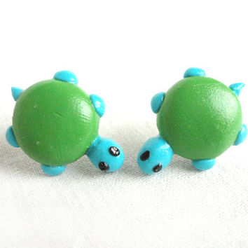 Turtle earrings polymer clay animal earrings handmade green earrings