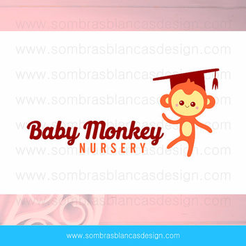 OOAK Premade Logo Design - Monkey Nursery - Perfect for a kindergarten or a kids clothing shop