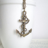 Brass Anchor Necklace. Nautical Jewelry. Big Anchor Pendant. Navy Wife. Brass Jewelry. Gifts Under 25. READY TO SHIP