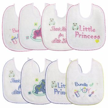 Lion Bear Newborn Baby Bibs 4pcs/set embroidery words Saliva Towel Bandana Scarf Infants Apron For Boys Girls baby accessories