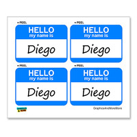 Diego Hello My Name Is - Sheet of 4 Stickers