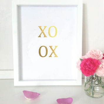 Gold typographic print - xoxo - gold word art - wall decor