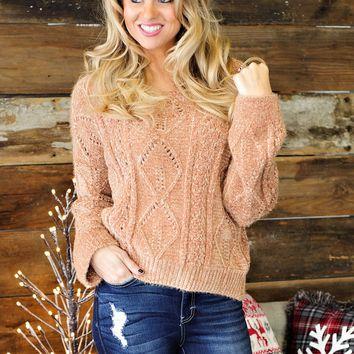 * Buck Up Buttercup Chenille Cable Knit Sweater : Camel