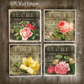Shabby Chic Coasters,  French Market Style on Ceramic Tile Coasters, Handmade Hot and Cold Bar Coasters, Roses on Wood, Gift, Made To Order