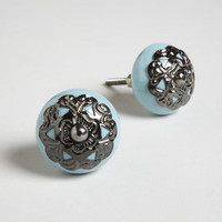 Turquoise Ceramic and Metal Round Knobs, Set of 2 | World Market