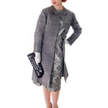 Vintage Dress And Silk Coat Silver Metallic Damask Fitted Sheath Dress 1960s Small