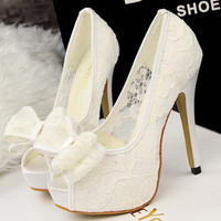 2016 New fashion Summer Style Shallow Mouth Wedding Party Shoes Women High Heels Openwork Mesh Sexy Lace Bow Fish Head Pumps