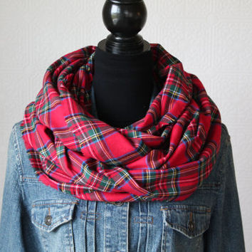 Red Plaid Infinity Scarf, Tartan Plaid Scarf, Winter Scarf, Womens Scarf, Christmas Gift