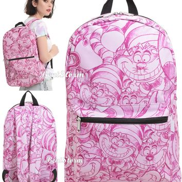 Licensed cool Disney Cheshire Cat allover print Alice In Wonderland Backpack School Book Bag