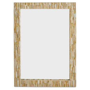 "Mirrors, 38"" Rectangle Wall Mirror, Gold/Ivory, Wall Mirrors"