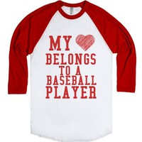My Heart Belongs To A Baseball Player-Unisex White/Red T-Shirt