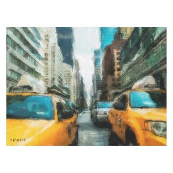 Yellow Taxi Cabs After Rain In New York City Tablecloth