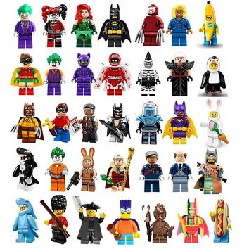 Super Heroes Dick Grayson Zebra Man Magpie King Tut Alfred Kabuki Cnins Banana Shark Suit Guy Rabbit Building Blocks Kids Toys