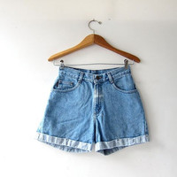 vintage denim shorts / jean shorts / high waist denim shorts / cuffed shorts / bleached distressed shorts