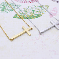 Sideways Cross necklace in  silver or gold tone