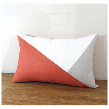 Side Envelope Modern Colorblock Pillow Cover - Persimmon/ Ivory/ Natural  Combo