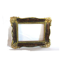 Hanging frame. Old frame. Shabby frame. Ornate frame. Wood carved frame. Gold brown. Old picture frame. Antique style frame. Vintage