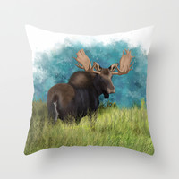 Moose  Throw Pillow by North Star Artwork