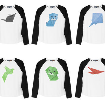 Kid's Animal Origami from recycled paper Printed Cotton Raglan T-shirt UTS_01