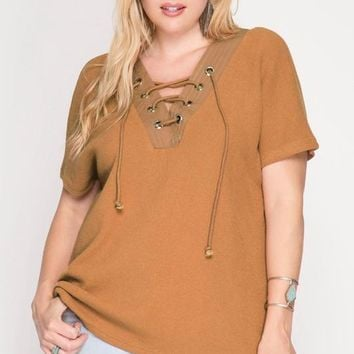 Camel Eyelet Lace Pullover   Plus