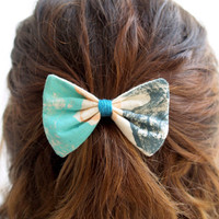 Hairbow, Medium Hand-Printed Teal green, Peach, Dark blue grey, aqua mint Fabric Barrette Clip Hair Accessories for Girls Women Handmade
