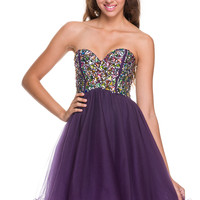 2013 Homecoming Dresses - Plum Chiffon Short Corset Dress - Unique Vintage - Prom dresses, retro dresses, retro swimsuits.
