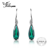 JewelryPalace Water Drop 4.1ct Created Emerald Drop Dangle Earrings 925 Sterling Silver Earring for Women Fashion