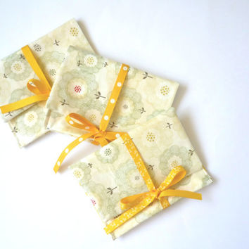 lemon yellow makeup bag for bridesmaids gift with Japanese fabric, cosmetic bag with yellow ribbon