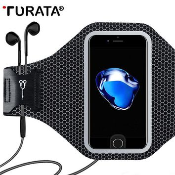 TURATA Universal Sports Arm Band Case For iPhone 6 6S 7 Plus Smart Touch GYM Running Fitness Phone Arm Band Accessories Cover