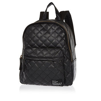 River Island Boys black leather look quilted backpack