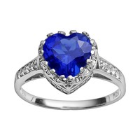 Sterling Silver Lab-Created Sapphire & Lab-Created White Sapphire Heart Crown Ring (Blue)