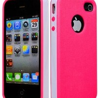 BasTexWireless Cute Hot Pink/white Dual Hybrid Bumper Hard Case Cover for Iphone 4 4s