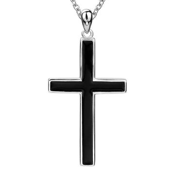 sterling real silver in 925 unique and unisex large cross with necklaces for mens black pendant charms long chain jewelry