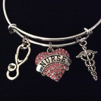Nurse Pink Crystal Heart Charm Expandable Silver Bracelet Adjustable Wire Bangle Stethescope Caduceus