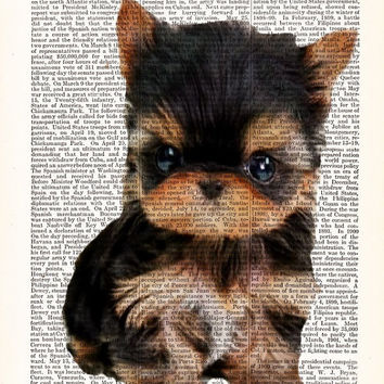 Cute Tiny Puppy-Tea Cup Yorkie Puppy-Dictionary Print-Dog Print-Cute Puppy Gift Poster-Dog Lover Print-Yorkshire Terrier-Yorkie Print