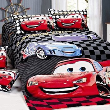 black red McQueen Car Print bedding sets single twin size bedspread Childrens boy's home decor quilt duvet cover 3pc no filler