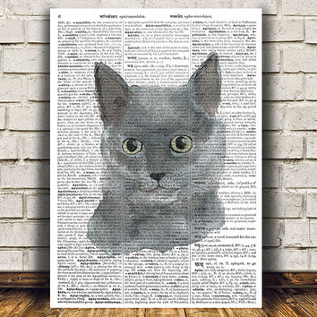 Kitty poster Animal print Cat print Dictionary decor RTA1504