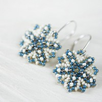 Beaded Tiny Blue Snowflake Earrings, Handmade