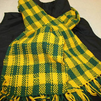 University of Oregon ducks or Greenbay Packers Hand woven scarf, to keep you warm