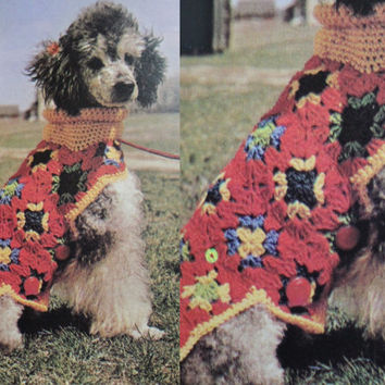 VTG Dog Sweater Crochet Pattern Instructions 70 dog sweater PDF Instant Download knitting supplies epsteam knitting pattern crochet pattern