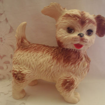 Vintage Kids Toy Edward Mobley Squeak and Close Eyes , Rubber Dog Toy from the 60's