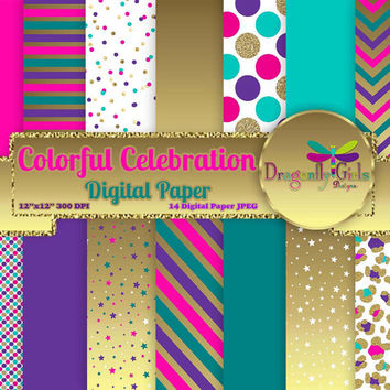 80% OFF Sale Colorful Celebration,digital paper,commercial use,scrapbook papers,background,gold glitter, teal, purple, pink, Chevron