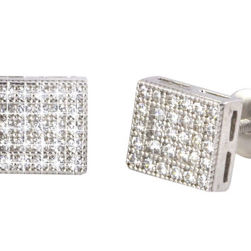 Rectangle Earrings Mens Womens Studs Sterling Silver Screwback Clear CZ 6mmx8mm