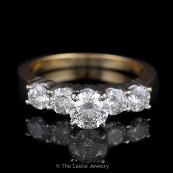 Estate Engagement Ring 5 Round Brilliant Cut Diamonds Featuring .60ct Center in 14K Yellow Gold