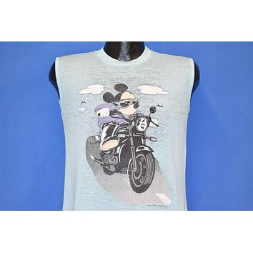 80s Mickey Mouse Riding Motorcycle Muscle Tee t-shirt Medium