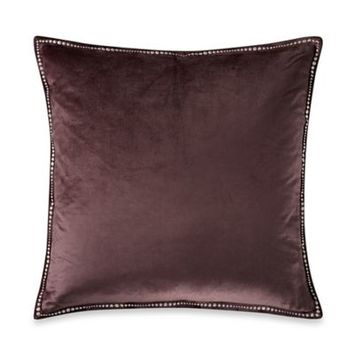 Kevin O'Brien Falling Leaves Velvet Square Toss Pillow in Grey