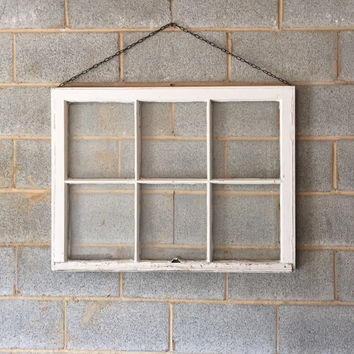 Hanging Vintage 6 Pane Window Frame w/Chain - White, 36 x 27,  Rustic, Wedding, Engagement, Beach Decor, Photos, Pictures, Holiday, Business