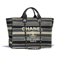 Canvas, Calfskin & Silver-Tone Metal Gray, Dark Gray & Black Shopping Bag | CHANEL