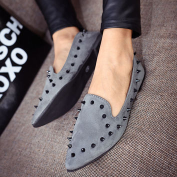 Pointed Toe Buckle Comfy Rivet Studded Casual Flat