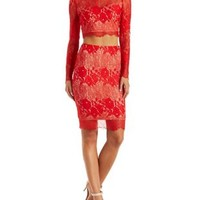 Red Combo A.Peach Two-Piece Lace Midi Hook-Up by Charlotte Russe
